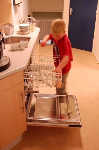 Helping doing the dishes
